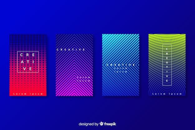 Colección colorida de portadas abstractas Vector Premium