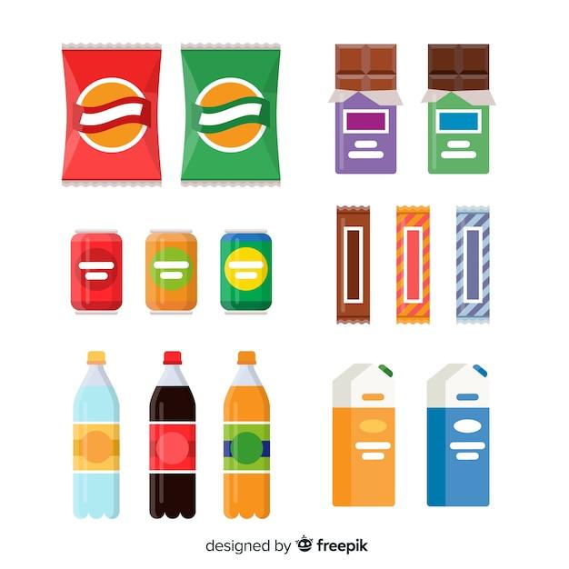 Colección colorida de snacks con diseño plano Vector Premium
