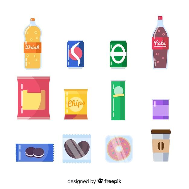 Colección colorida de snacks con diseño plano vector gratuito