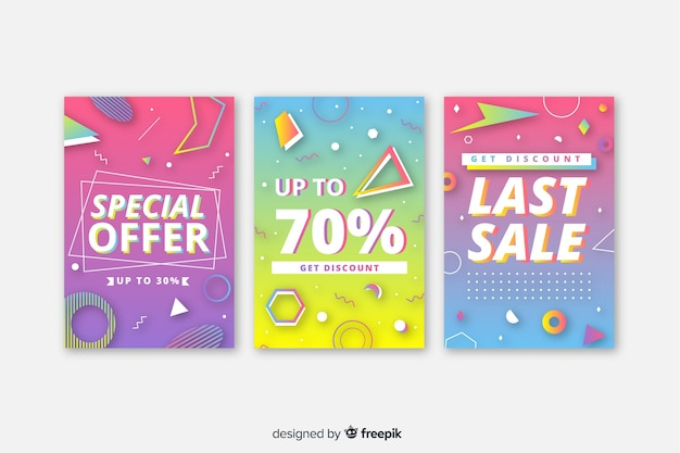 Colección de coloridos carteles de venta de memphis vector gratuito