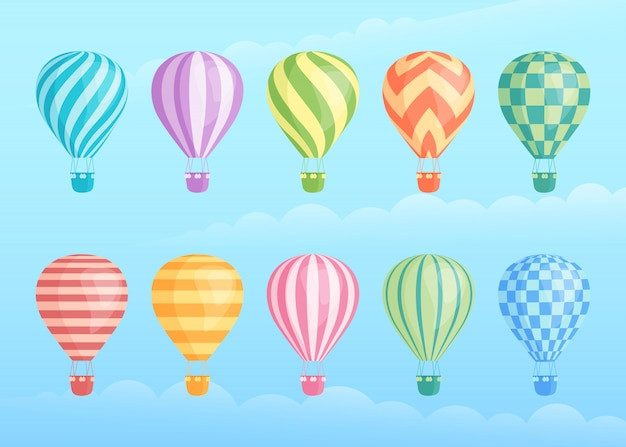 Colección de coloridos globos aerostáticos Vector Premium