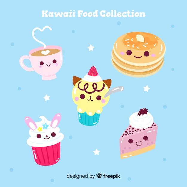 Colección comida adorable dibujada a mano vector gratuito
