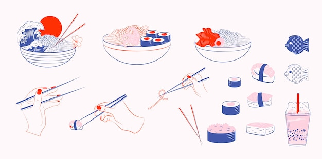Colección de comida de la cocina asiática Vector Premium