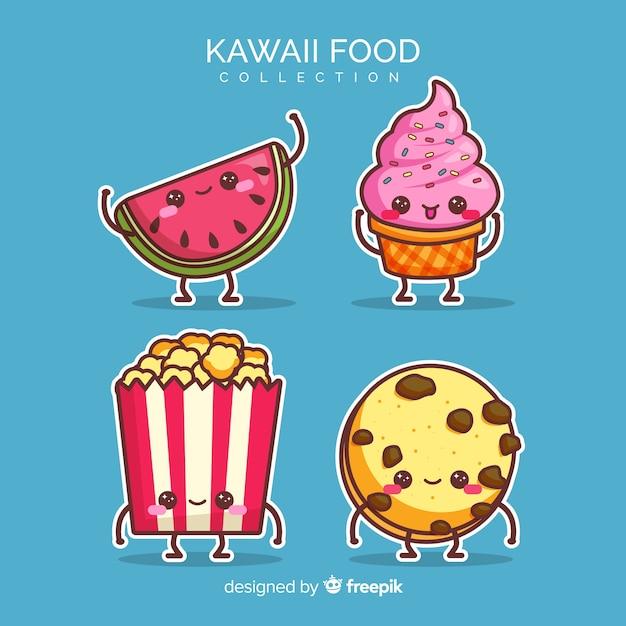 Colección de comida en estilo kawaii en diseño plano vector gratuito