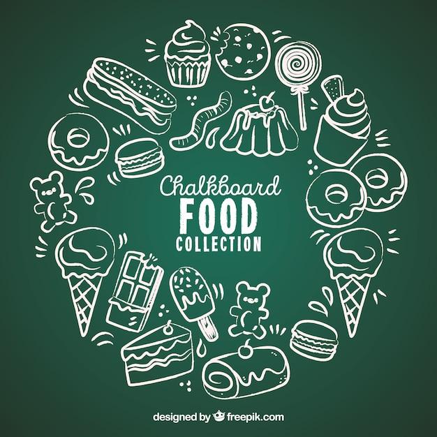 Colección de comida en estilo pizarra vector gratuito