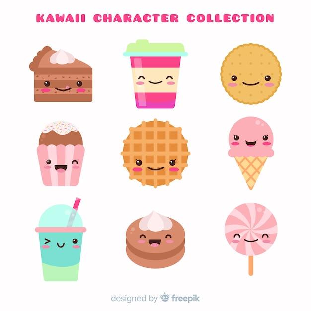 Colección comida kawaii dibujada a mano vector gratuito
