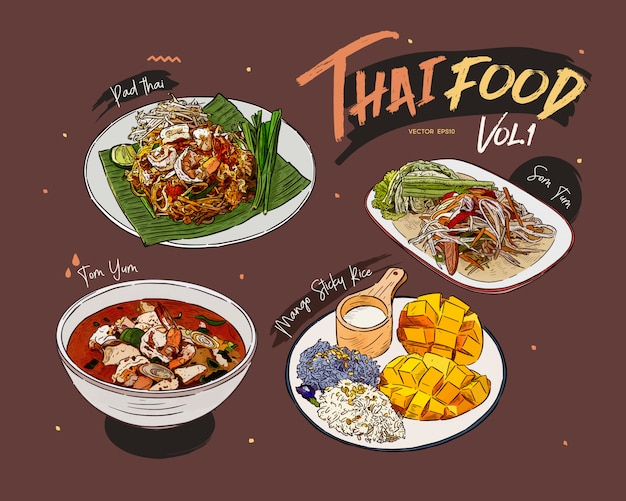 Colección de comida tailandesa, boceto dibujar a mano. Vector Premium
