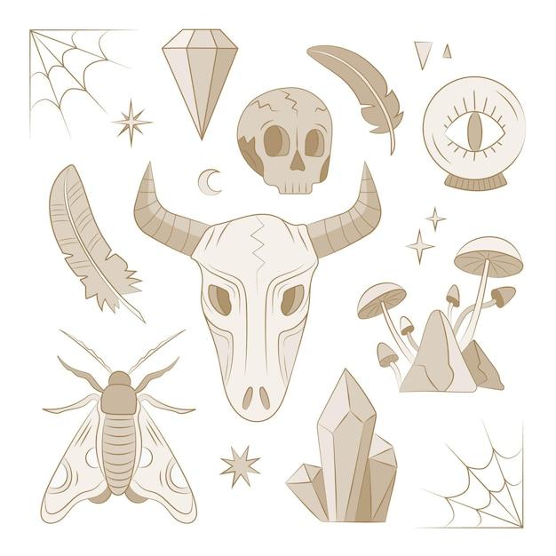 Colección de concepto de elemento esotérico vector gratuito