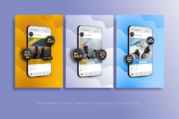 Colección de concepto de venta de tienda online en publicación de redes sociales Vector Premium
