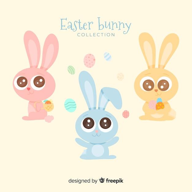 Colección conejos pascua adorables vector gratuito