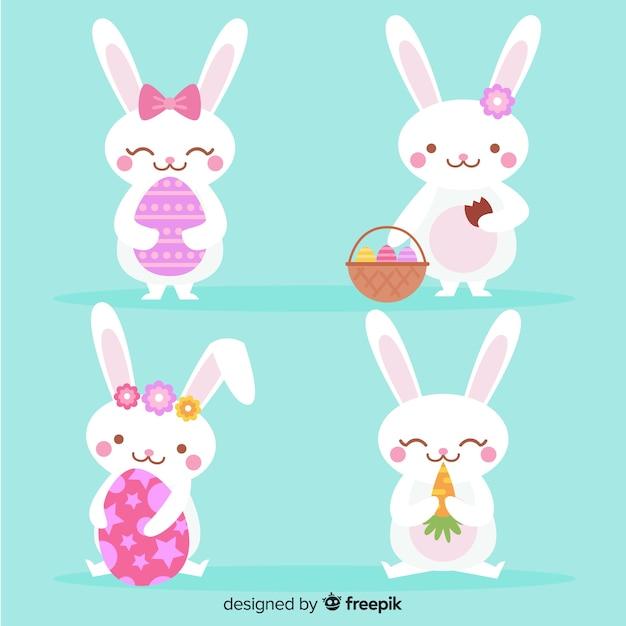 Colección de conejos de pascua en diseño plano vector gratuito