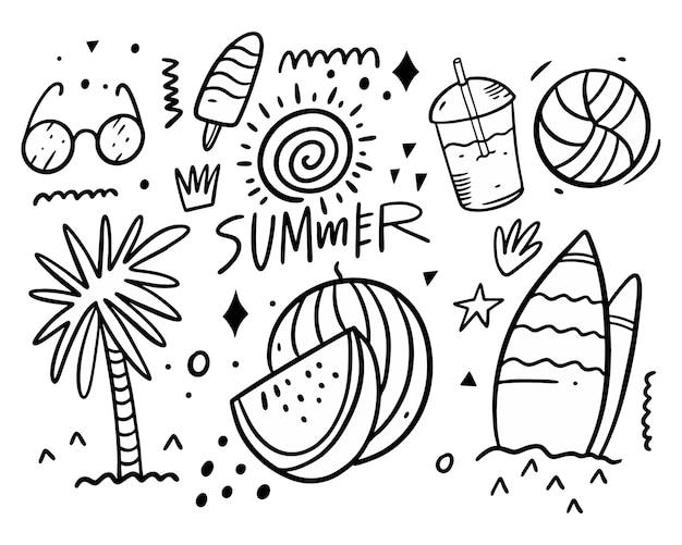 Colección de conjunto de garabatos de verano. palmera, vasos, acceso al surf, bebida, pelota, helado y sol. Vector Premium