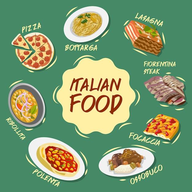 Colección de conjunto de vectores de comida italiana Vector Premium