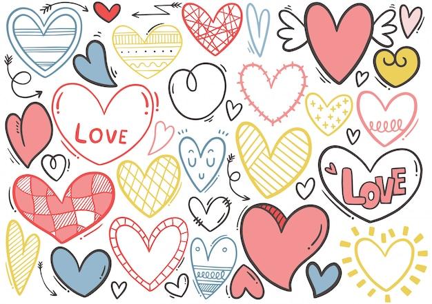 Colección de corazón doodle dibujado a mano Vector Premium