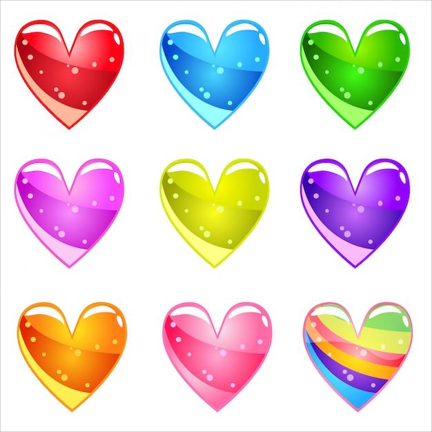 Colección corazones brillantes de dibujos animados lindo con gelatina en diferentes colores. Vector Premium