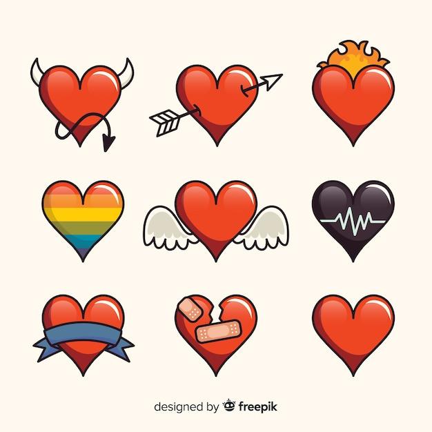 Colección de corazones dibujado a mano vector gratuito