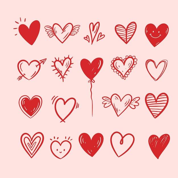 Colección corazones dibujados a mano vector gratuito