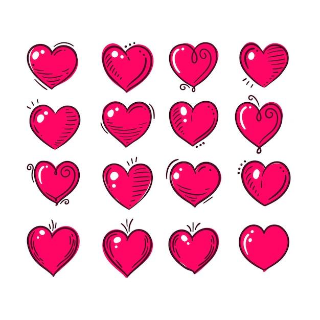 Colección corazones dibujados a mano Vector Premium