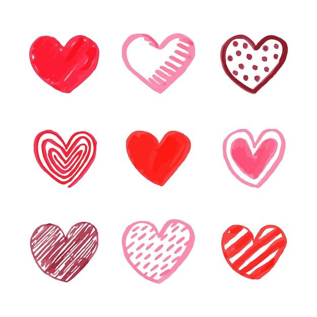 Colección corazones de diseño dibujado a mano vector gratuito