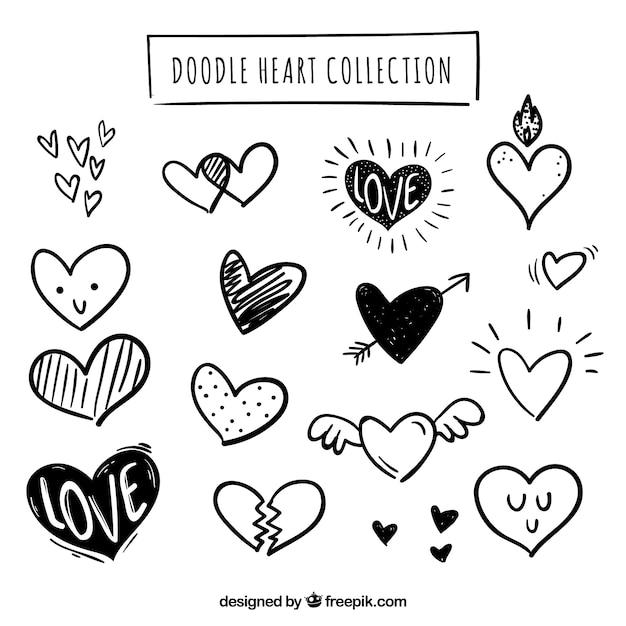 Colección de corazones hechas a mano Vector Premium