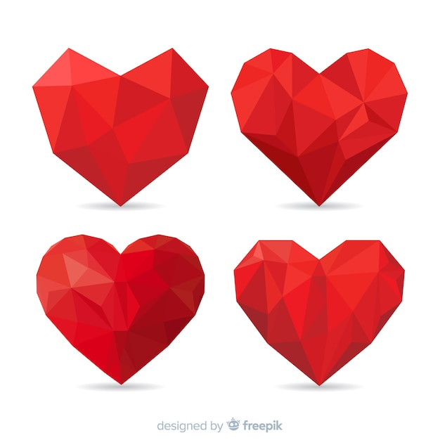 Colección corazones origami vector gratuito