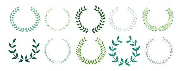 Colección de corona de laurel de hojas verdes vector gratuito