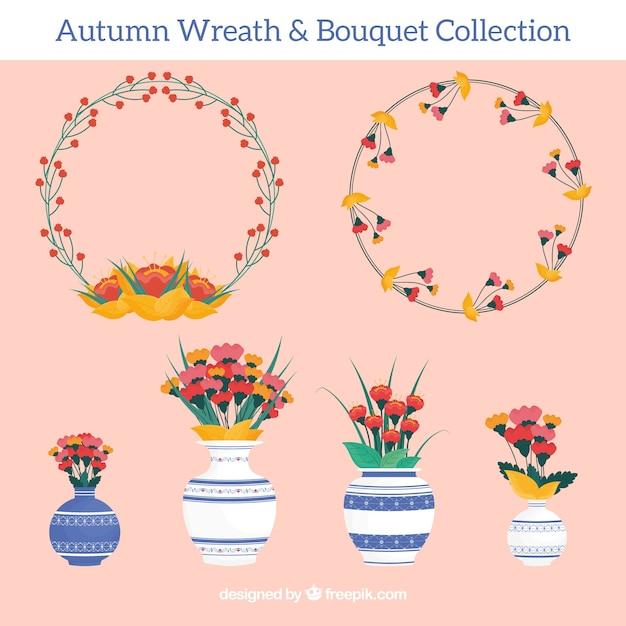 Colección de coronas florales y jarrones vector gratuito