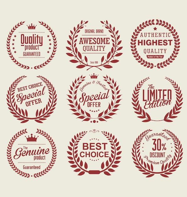 Colección de coronas de laurel de calidad superior Vector Premium
