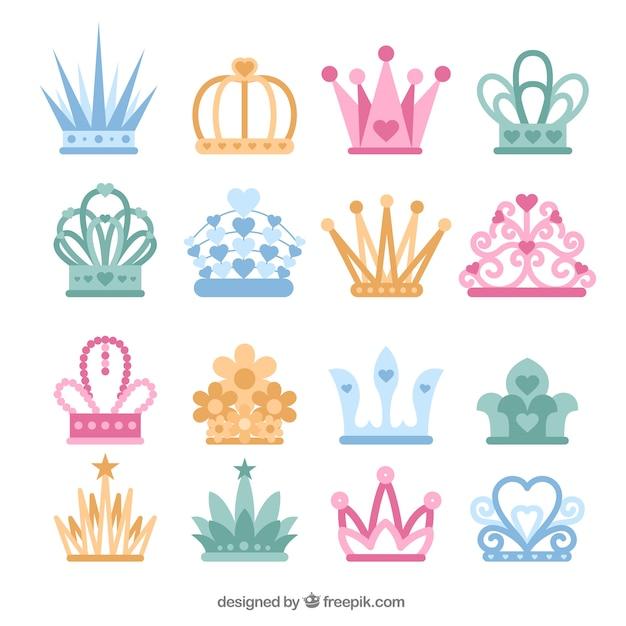 Colección De Coronas De Princesas De Colores En Diseño Plano