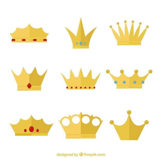 Colección De Coronas De Reina Con Diseño Plano Descargar Vectores