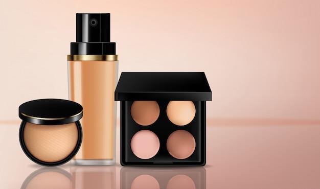 Colección cosmética de sombras de ojos y bases Vector Premium