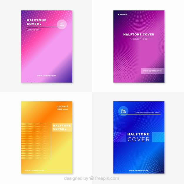Colección de covers brillosos con líneas abstractas vector gratuito
