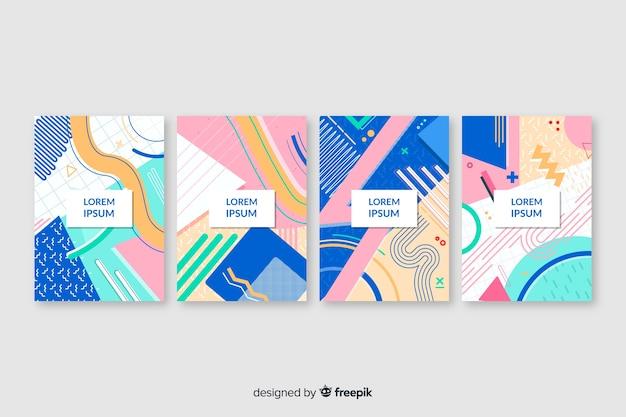 Colección de covers en estilo memphis vector gratuito