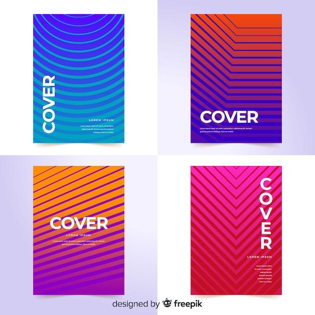 Colección de covers de líneas geométricas coloridas vector gratuito