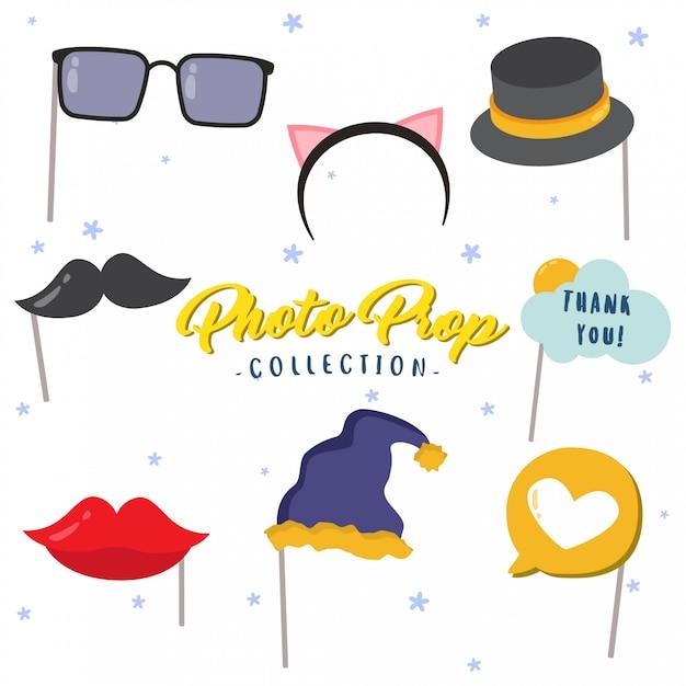 Colección creativa de accesorios para fotomatón. Vector Premium