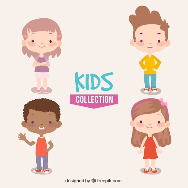 Colección de cuatro niños sonrientes vector gratuito