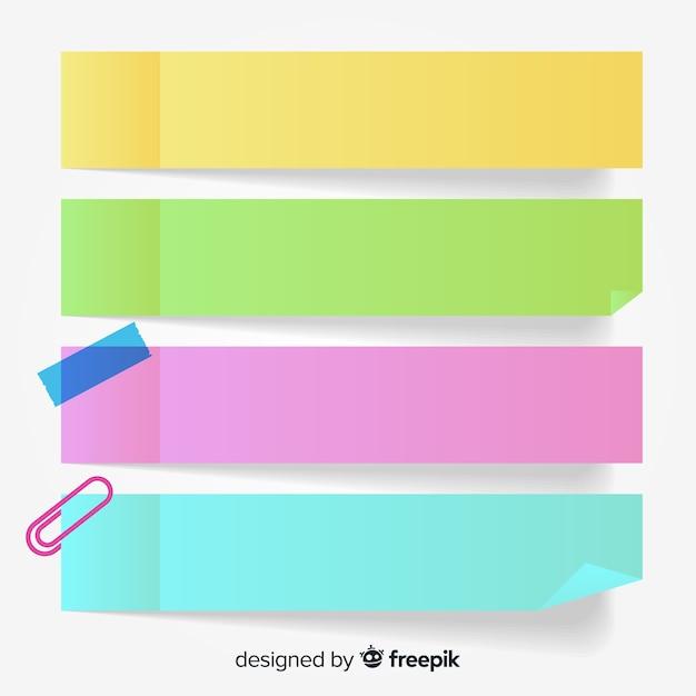 Colección de cuatro notas adhesivas coloridas en estilo realista Vector Premium