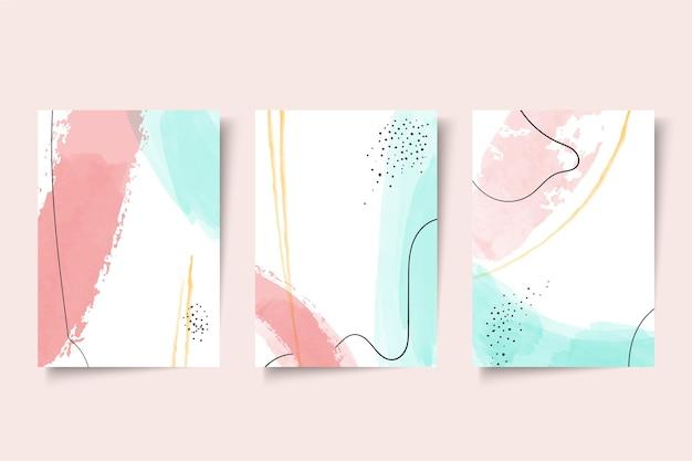Colección de cubiertas de formas abstractas de acuarela vector gratuito