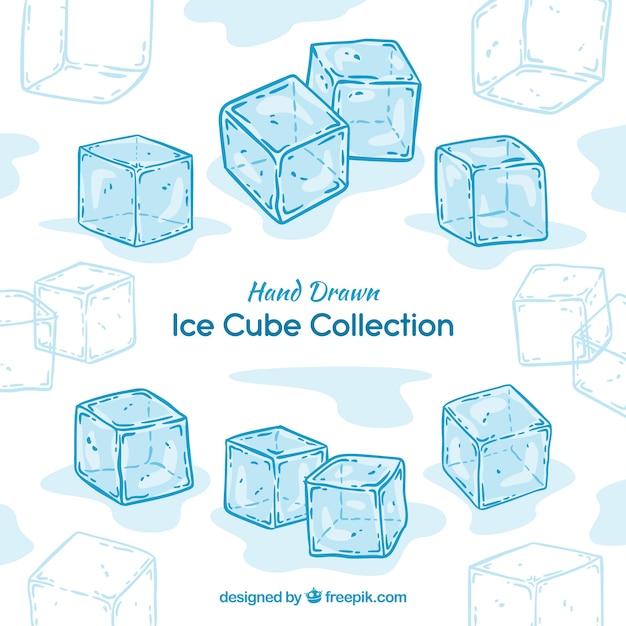 Colección de cubitos de hielo dibujados a mano vector gratuito
