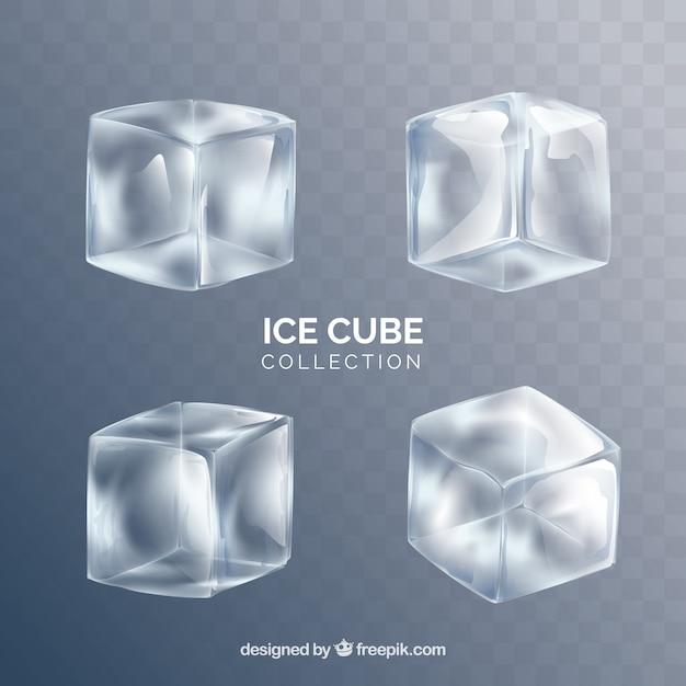 Colección de cubitos de hielo con estilo realista vector gratuito
