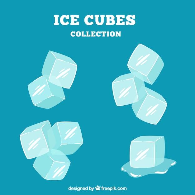 Colección de cubos de hielo en estilo hecho a mano vector gratuito