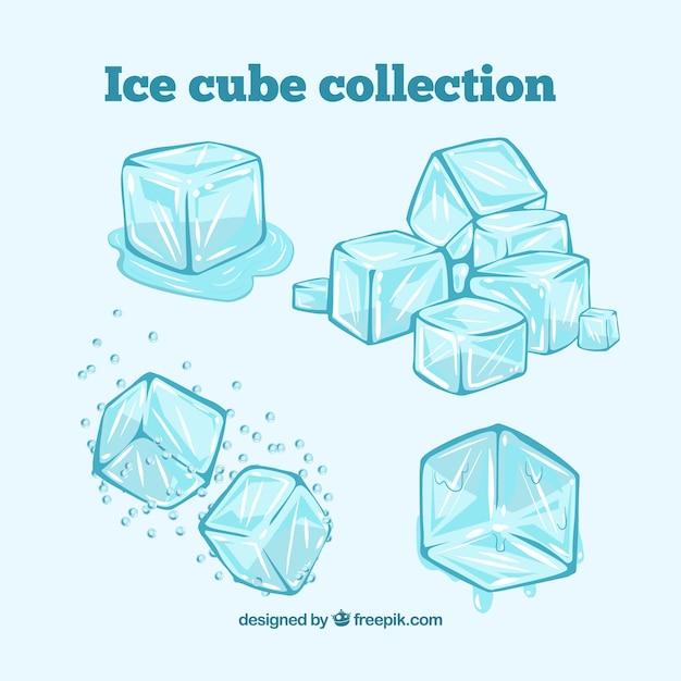 Colección de cubos de hielo Vector Premium