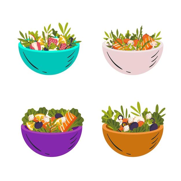Colección de cuencos con fruta y ensalada. vector gratuito