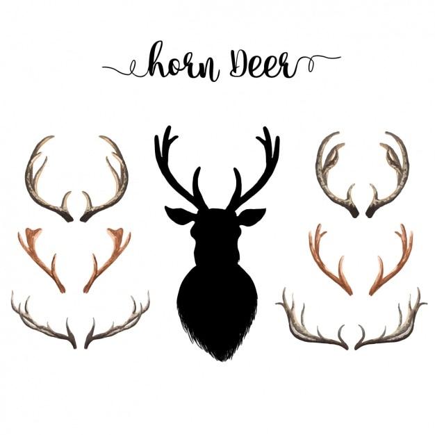 Colección de cuernos de ciervo en acuarela vector gratuito