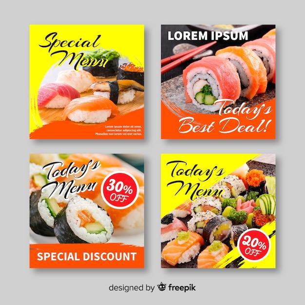 Colección culinaria insta post con foto vector gratuito