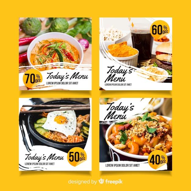 Colección culinaria de publicaciones de instagram con foto vector gratuito