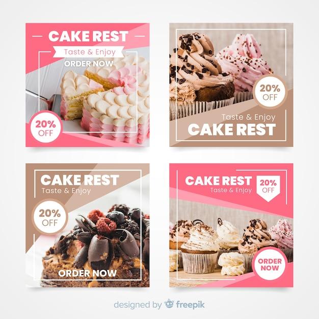 Colección culinaria de publicaciones de instagram con imagen vector gratuito