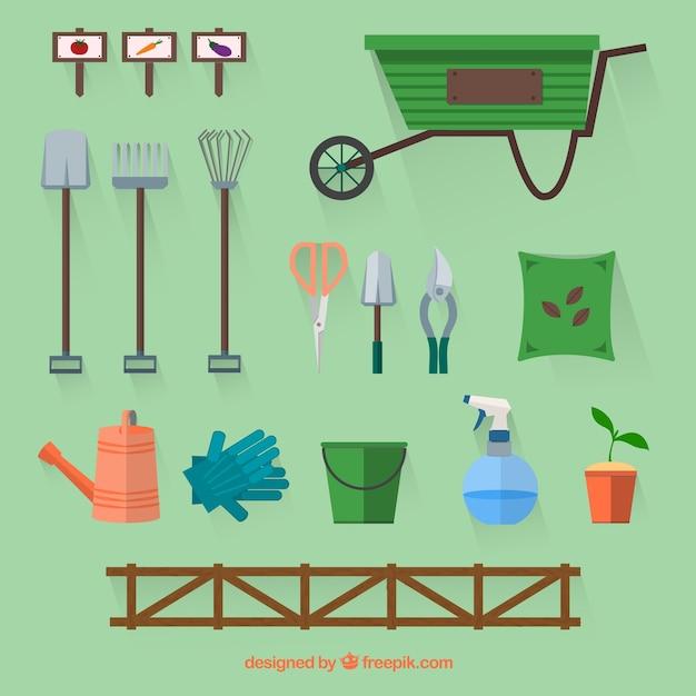 Colecci n de accesorios de jard n tiles en dise o plano - Accesorios de jardin ...