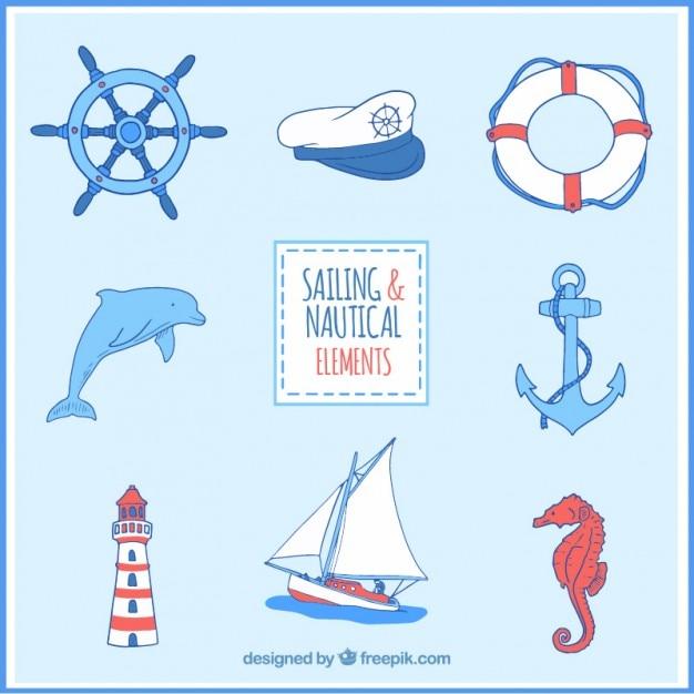 Colecci n de accesorios marinos descargar vectores gratis for Accesorios para acuarios marinos