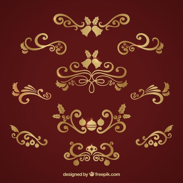 Colecci n de adornos dorados navide os elegantes - Adornos navidenos elegantes ...